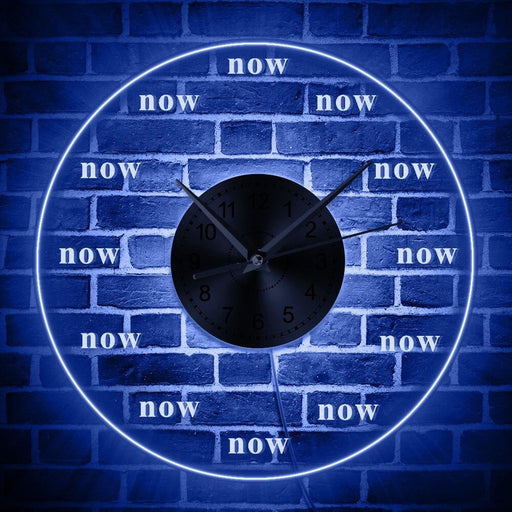 Time is Now Wall Clock Live in the Present Moment Motivational LED Wall Decor Wall Clock with LED illumination Meditation Gift