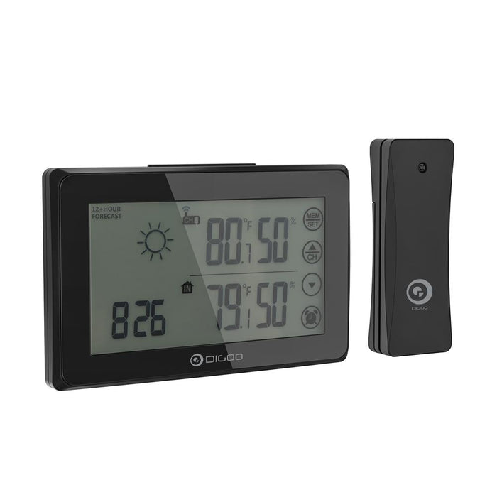 DIGOO DG-TH0340 Orange Backligt LCD Weather Station With Remote Sensor Alarm Clock Touch Screen 12/24h Wether Forecast Temperiture Humidity Alarm Clock