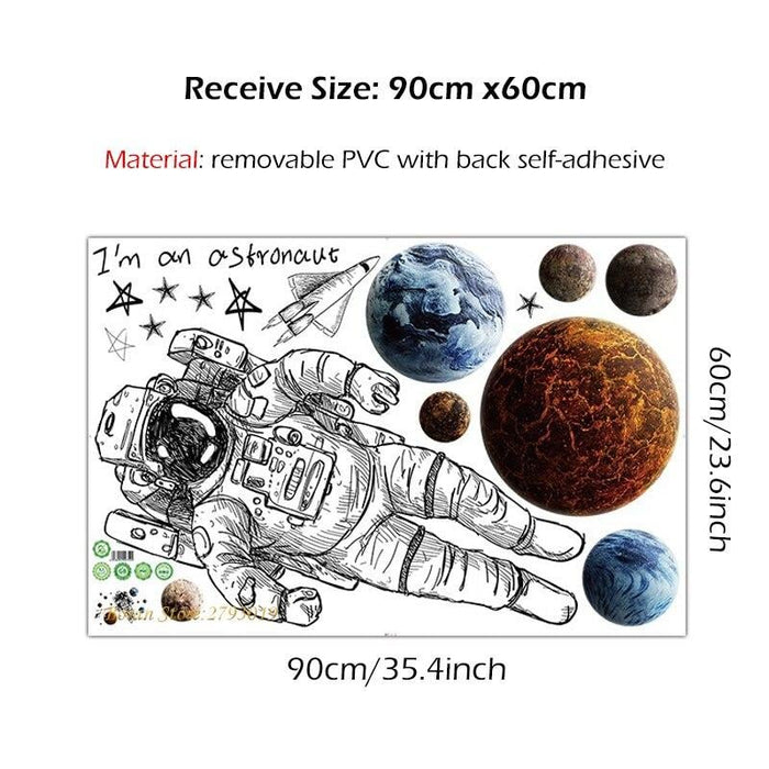 Nordic Astronaut Wall Stickers Outer space Planet Decorative