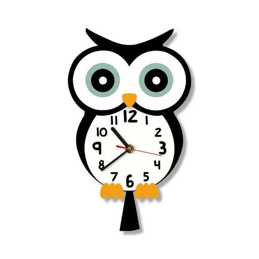Eagle Owl Cute Cartoon Animal Design Print Wall Clock Colorful Baby Owl Quiet Wall Watch Home Art Bedroom Living Dorm Room Decor