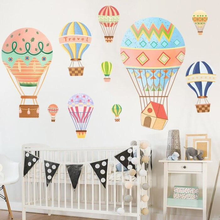 Cartoon Hot Air Balloon Wall Stickers Paint Style for Living