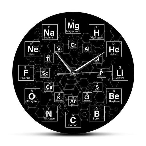 Periodic Table of the Elements Chemical Symbols Wall Clock Science Wall Art Decor Classroom Wall Watch Chemistry Teacher Gift