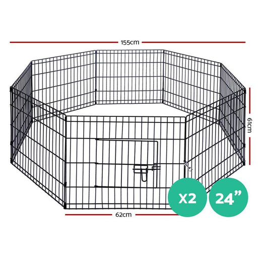 I.pet 2x24 8 Panel Pet Dog Playpen Puppy Exercise Cage