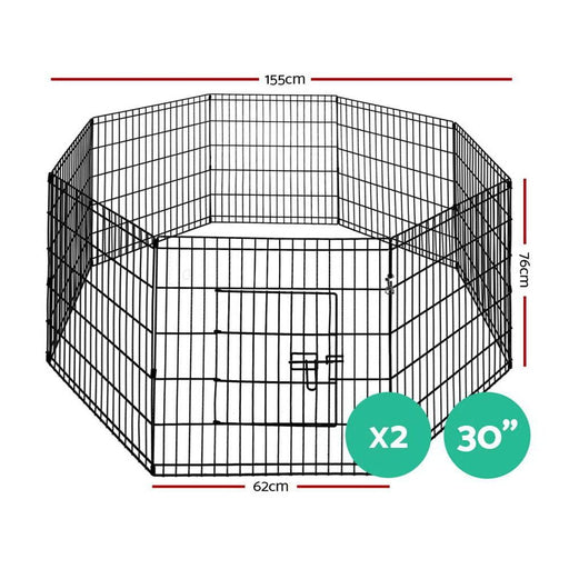 I.pet 2x30 8 Panel Pet Dog Playpen Puppy Exercise Cage