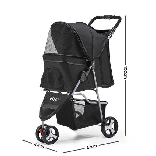I.pet 3 Wheel Pet Stroller - Black - Pet Care > Dog Supplies