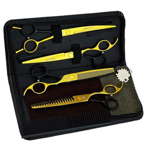 "7"" univinlions black professional pet scissors dog cat tesoura pet grooming cutting scissors kit shears set japan high quality"