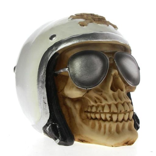 Skull With Pilot Helmet and Aviator Shades Skeleton Figurine Sculpture Halloween Decor Fighter Jet Airplane Pilot Skull Statue