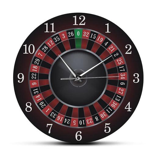 Poker Roulette Wall Clock With Black Metal Frame Las Vegas Game Room Wall Art Decor Timepiece Clock Watch Gambling Casino Gift