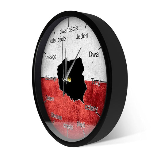 Polish Metal Frame Wall Clock Patriotic Poland Flag Map Luminous Wall Clock Smart Voice Control Watch Modern Design Home Art
