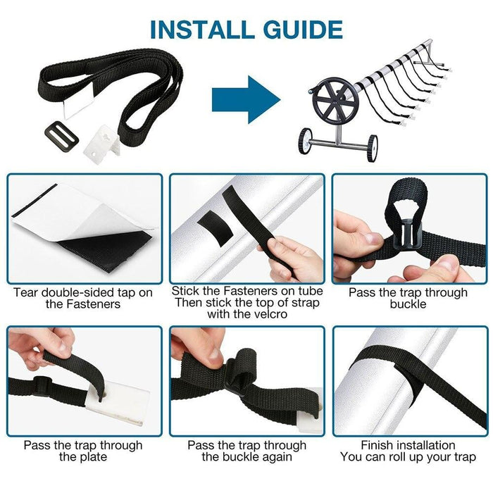 Pool Cover Roller Attachment Solar Blanket Straps Kit Universal Pool Strapping Kit for Pool Solar Cover Reel Accessory
