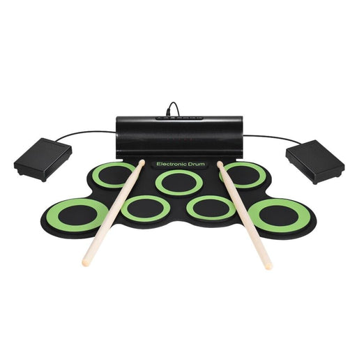 Portable Electric Drum Digital Mono Electronic Drum Set 7 Silicon Pads Built-in Speaker USB Powered with Drumsticks Foot Pedals