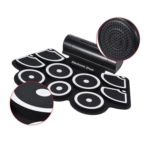 Portable Electronic Drum Roll Up Drum Pad Set 9 Silicon Pads Built-in Speakers with Drumsticks Foot Pedals USB 3.5mm Audio Cable
