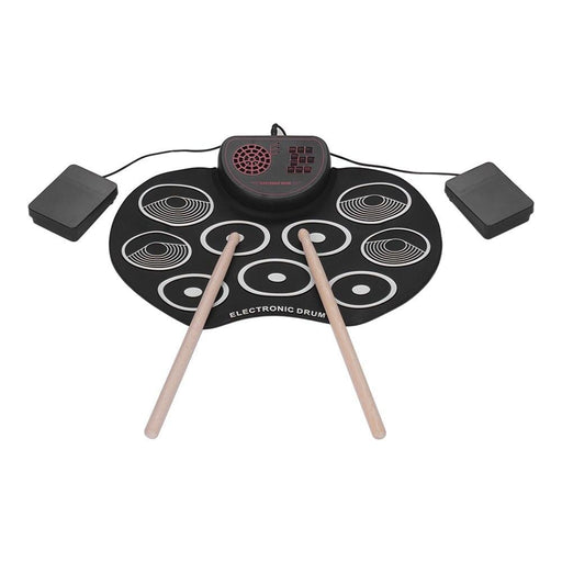 Portable Electronic Drum Set USB Roll Up Drum Pad Kit 9 Drumpads Built-in Speaker Lithium Battery with Sticks and Foot Pedals
