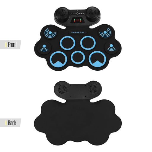 Portable Electronic Hand Roll Drum Pad Set Roll-up Sensitive Drum with Headphone Speaker Jack Built-in Speaker Recording