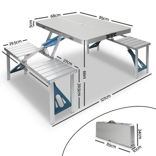 Portable Folding Camping Table and Chair Set 85cm - Outdoor