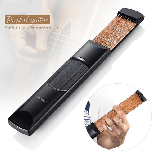 ammoon Portable Pocket Acoustic Guitar Practice Tool Gadget Chord Trainer 6 String 6 Fret Model High Quality Pocket Guitar Parts