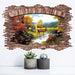 Deer Landscape 3D Wall Stickers Woody Window View Vinyl