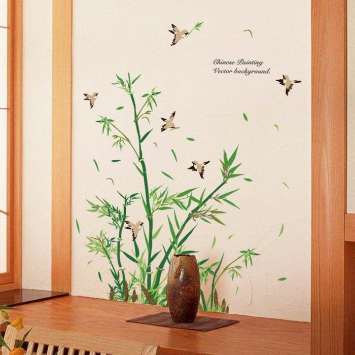 Green Leaves Bamboo Birds Wall Stickers for Living Room