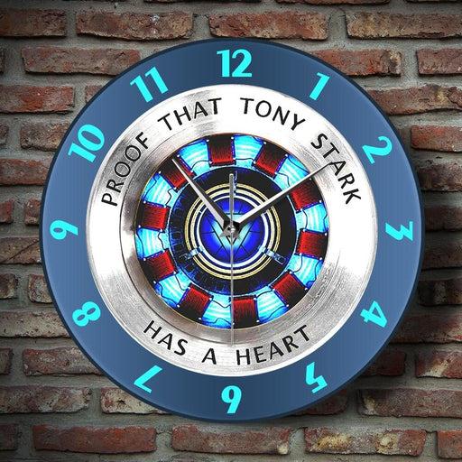 Proof That Tony Stark Has A Heart Arc Reactor Wall Clock Superhero Modern Hanging Wall Watch Movie Timepiece Home Decor Wall Art