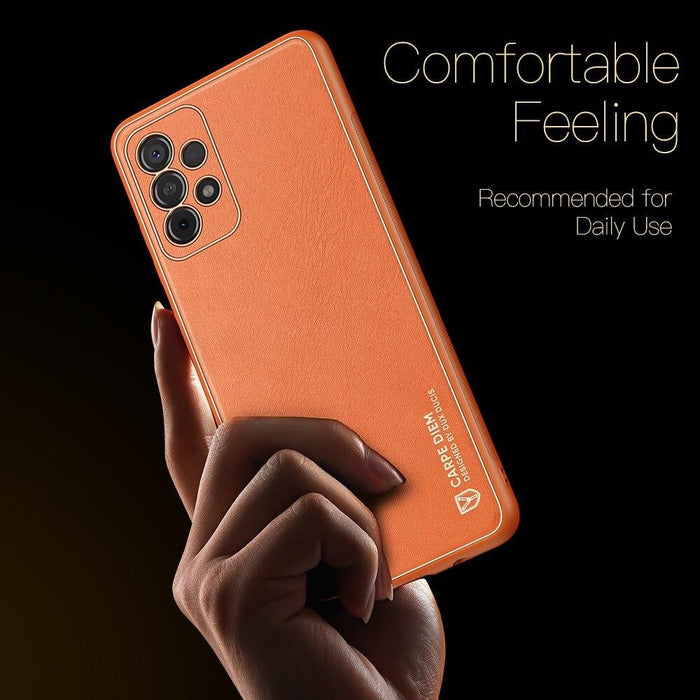 Natural Genuine PU Leather Anti-Slip Back Cover For Samsung
