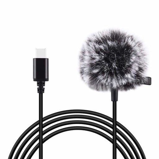 PULUZ Mini 1.5m Type-C Jack Lavalier Wired Condenser Recording Microphone for Phone Live
