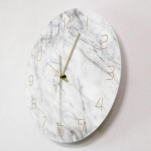 Quartz Analog Quiet Marble Wall Clock 3D Chic White Marble Print Modern Round Wall Watch Nordic Creativity Home Decor Fashion