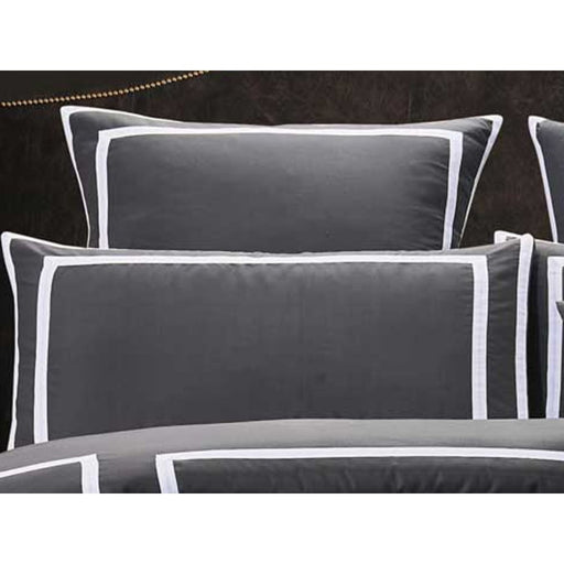 Queen Size Charcoal and White Quilt Cover Set (3pcs) - Home