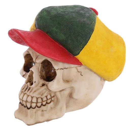 Resin Skull Ornament Rasta Hat Skeleton Head Figurine Horror Skulls Statue Rastafarian Colors Jamaica Skeleton Figurine Statue