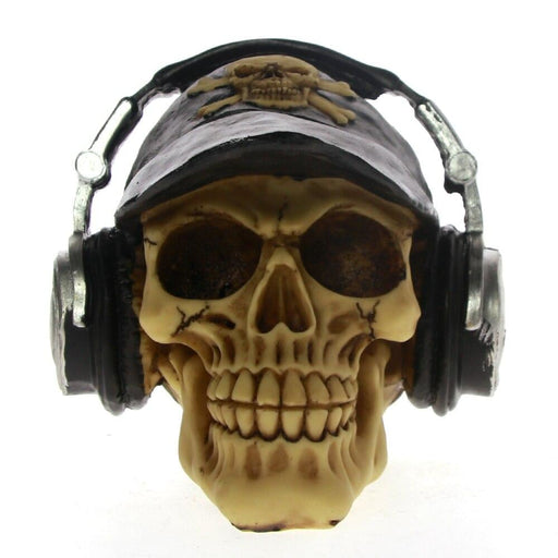 Rocking Skull with Baseball Cap and Headset Halloween Horror Decor Figurine Skull With Headphone Fashion Cap Statue Sculpture