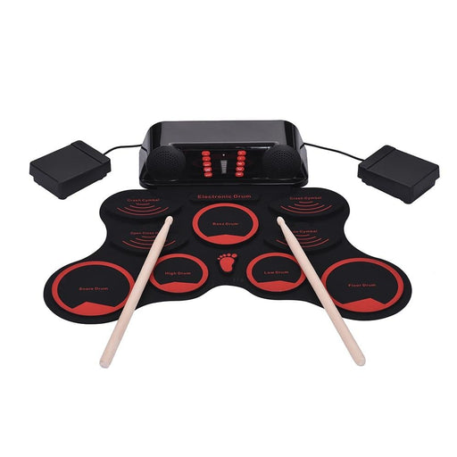 Portable Roll-Up Drum Set Electronic Drum Kit 9 Silicon Drum Pads Built-in Double Speakers with Drumsticks Foot Pedals USB Cable