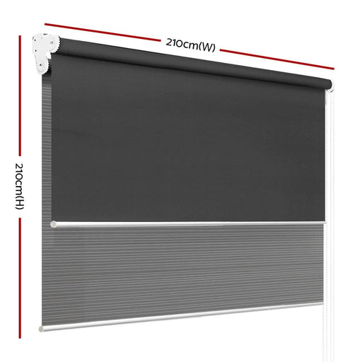 Roller Blinds Blockout Blackout Curtains Window Double Dual