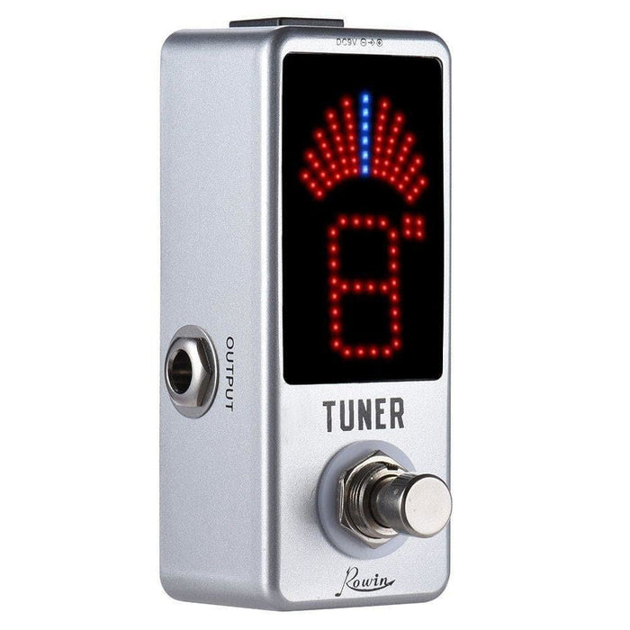 Rowin Mini Chromatic Guitar Tuner Pedal High Precision Tuner Pedal LED Display True Bypass for Guitar Bass Guitar Accessories