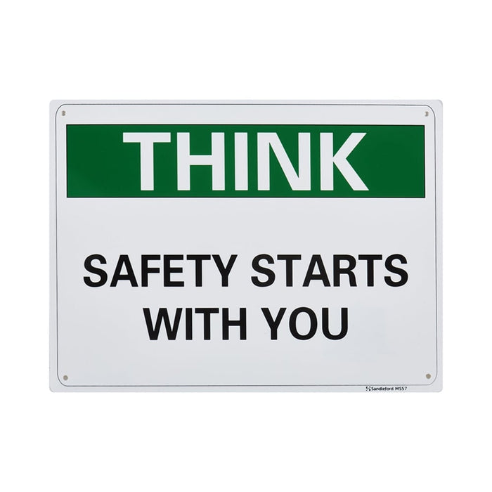 Think Safety Starts With You Plastic Sign goslash fast delivery fast delivery
