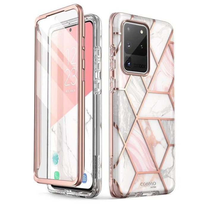 For Samsung Galaxy S20 Ultra 5g - Cosmo Glitter Marble Case W/ Built-in Screen
