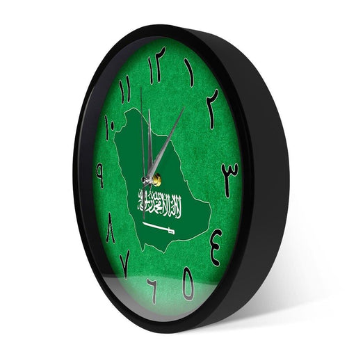 Saudi Arabia Country Map Modern Design Metal Frame Wall Clock Middle East Home Decor Sound Activated Light Arabic Wall Clock