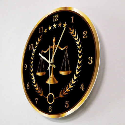 Scale Of Justice Modern Wall Clock Non Ticking Timepiece Lawyer Office Decor Law Firm Wall Art Judge Law Wall Hanging Wall Watch