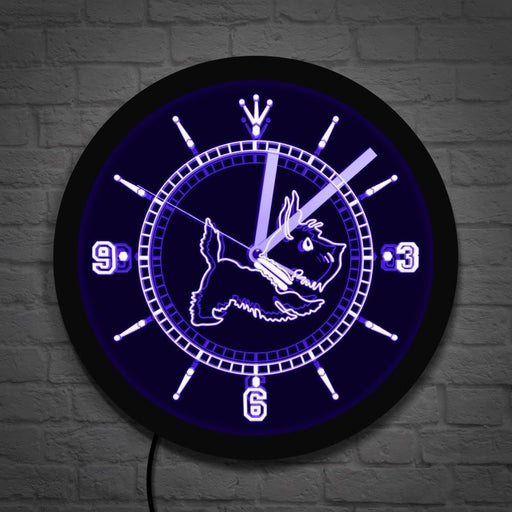 Scottie Dog LED Neon Sign Lighting Wall Clock Aberdeen Terrier Dog Breeds Gift Scottish Terrier Luminous Wall Clock Home Decor