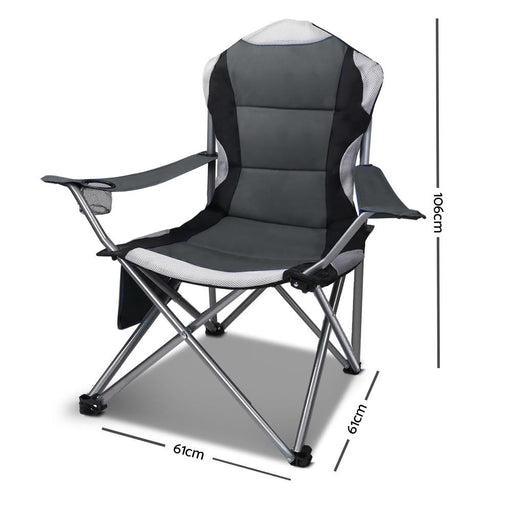 Set of 2 Portable Folding Camping Armchair - Grey - Outdoor