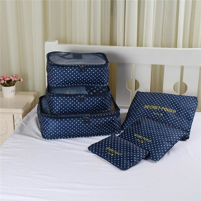 Navy Wave Point Set of 6 Waterproof Travel Clothes Organiser goslash fast delivery fast delivery
