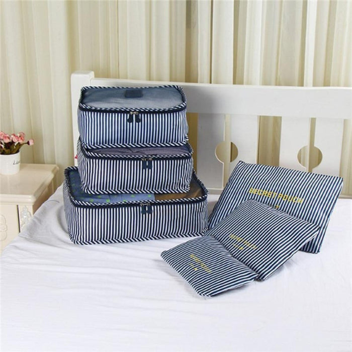 Navy Stripe Set of 6 Waterproof Travel Clothes Organiser goslash fast delivery fast delivery