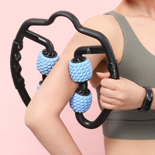 Dropshipping U Shape Trigger Point Massage Roller for Arm Leg Neck Muscle Tissue for Fitness Gym Yoga Pilates Sports 4 Wheel