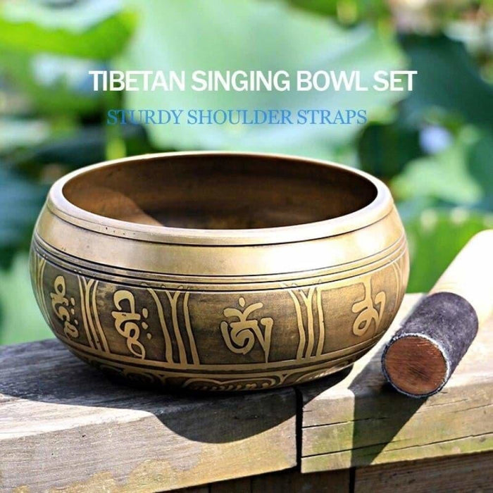 Silent Mind  Tibetan Singing Bowl Set  Antique Design  With Dual Surface Mallet and Silk Cushion  Promotes Peace, Chakra Healin