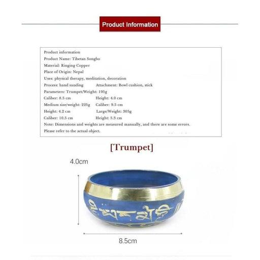 Silent Mind Tibetan Singing Bowl Set Blue Color Design with