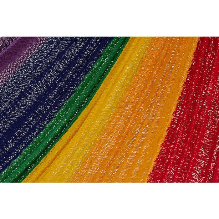 Single Size Cotton Mexican Hammock in Rainbow Colour - Home