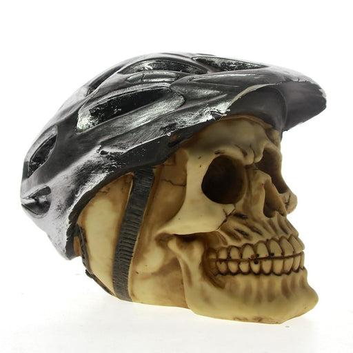 Gothic Skull Decoration Wearing Cycling Helmet Skull with Bike helmet Life Cycle Skeleton Biker Dead Man Skull Statue Figurine