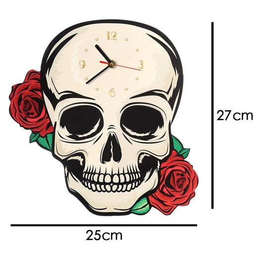 Decorative Fantasy Skull with Red Roses Shaped Wall Clock Skull Head Clock Halloween Hanging Horror Wall Art Modern Wall Watch