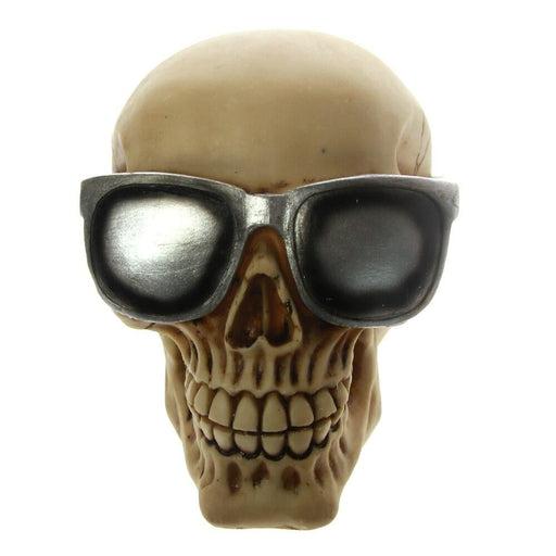 Stylish Skull Head with Sunglasses Shades Beach Macho Sunglass Skull Statue Figurine Skeleton Cool For Premium Home Garden Decor