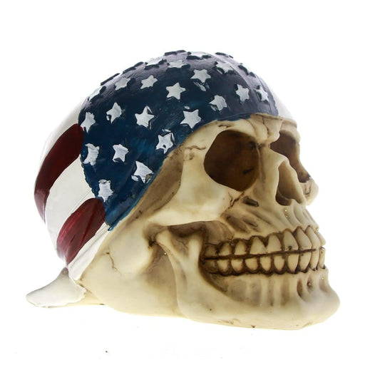 Skull With American Flag Bandana Figurine Independence Day Patriotic Skull With US Flag Banner Bandana Skeleton Figurine Decor
