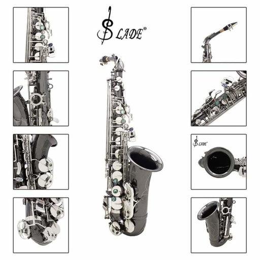 Slade Bend Eb E-flat Alto Saxophone Sax High Quality Brass Black Nickel Plating Abalone Shell Keys Carve Pattern