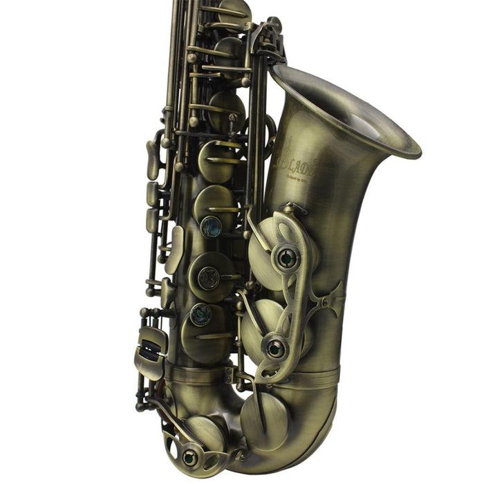 Slade High Grade Antique Eb E-flat Alto Saxophone Sax Abalone Shell Key Carve Pattern with Case Gloves Straps Mouthpiece